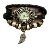 Skatch Schwarz Weben Armbanduhren Leder Armband Uhren - WICKELN herum - Quarz Art Vintage Retro- Damenuhr + Kostenlose Pouch Etui