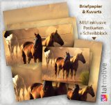 Briefpapier Set Pferde (25 Sets inkl. Kuverts) Präsentmappe »Pferdepaar in Westernromantik« für Mädchen und Jungen. Geschenkidee! JETZT NEU: inklusive 10 Bildpostkarten + 2 Schreibblocks